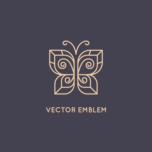 Vector mẫu thiết kế trừu tượng theo phong cách tuyến tính, biểu tượng bướm