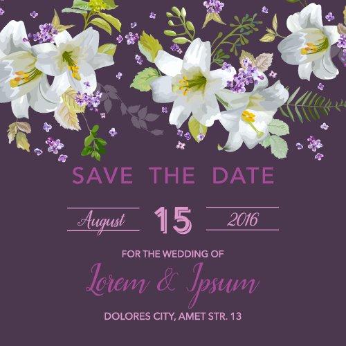 Vector giấy mời đám cưới với Hoa Lily