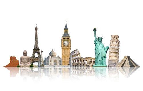 Ảnh chụp các tượng đài nổi tiếng của thế giới được nhóm lại với nhau trên nền trắng