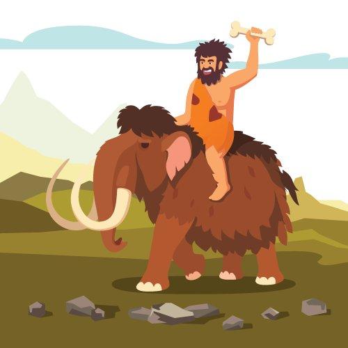 Vector người đàn ông cổ đại cưỡi voi Ma Mút với xương trong tay