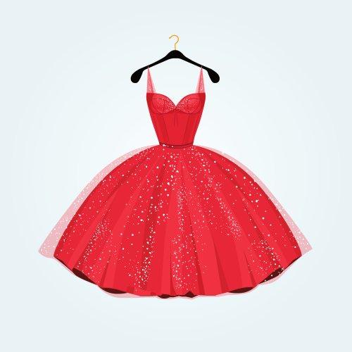 Vector đầm màu đỏ tuyệt đẹp