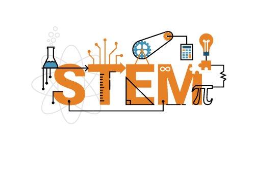 Vector kiểu chữ STEM trong chủ đề màu da cam với các yếu tố trang trí biểu tượng