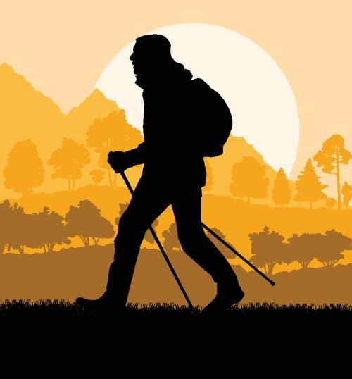 Vector người đi bộ leo núi