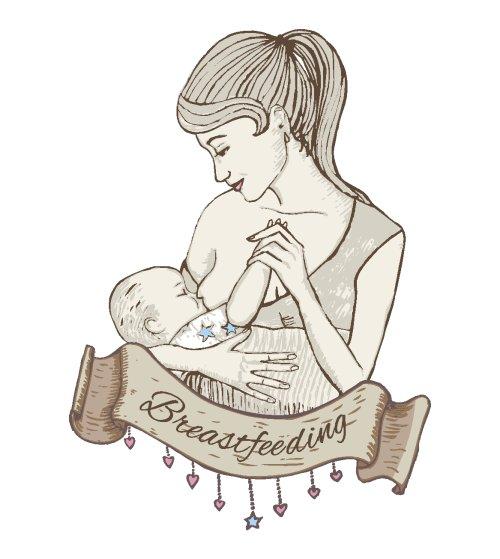 Vector vẽ tay minh hoạ em bé bú sữa mẹ