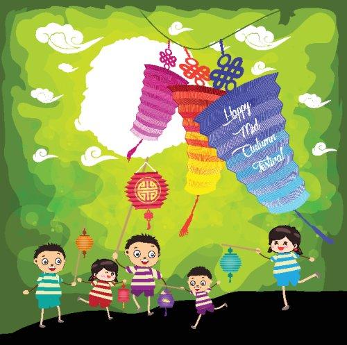 Vector Tết trung thu với trẻ em chơi lồng đèn