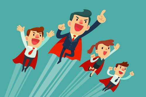 Vector nhóm kinh doanh siêu nhân