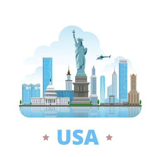 Vector cảnh quan Hoa Kỳ mẫu thiết kế quốc gia