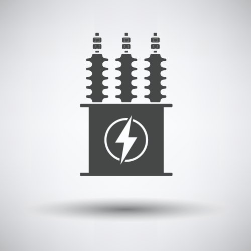 Vector biểu tượng máy biến áp điện trên nền màu xám, bóng tròn.