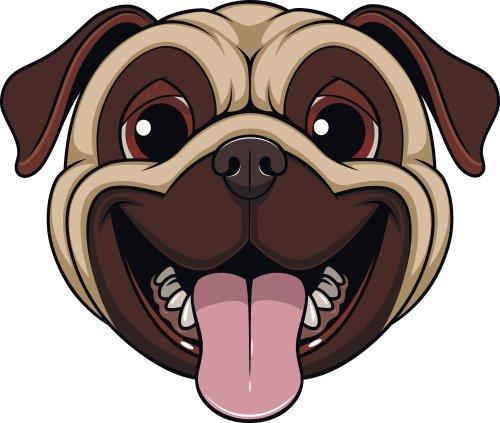 Vector minh họa chó pug cười trên nền trắng