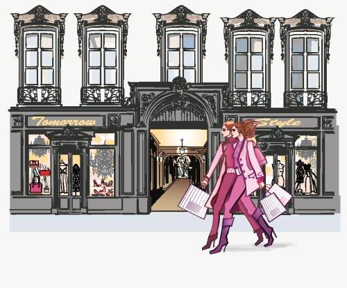 Vector hai người phụ nữ trẻ mua sắm thời trang