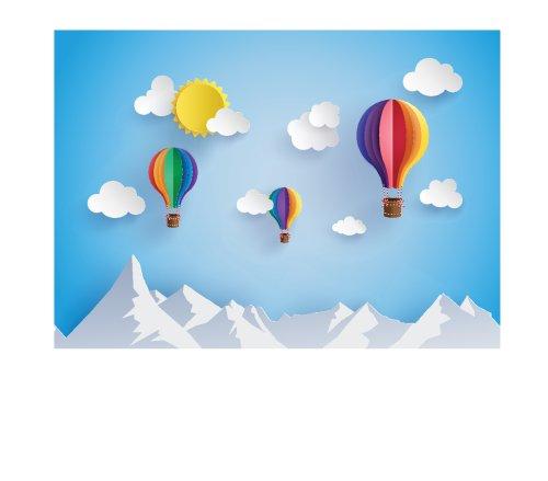 Vector không khí bóng bay nóng trên không với phong cách giấy mây