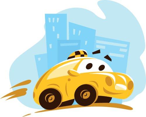Vector phẳng xe taxi đi qua thành phố.