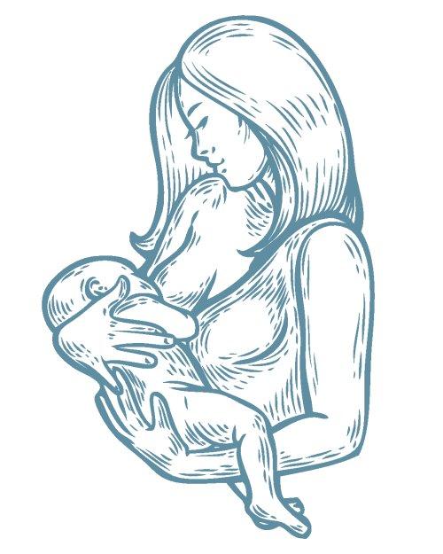 Vector Người phụ nữ cho con bú sữa mẹ