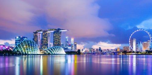 Ảnh chụp Cảnh quan thành phố Singapore trong hoàng hôn