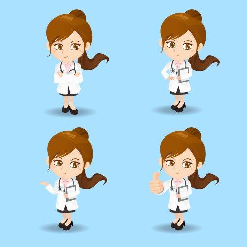 Vector bộ phim hoạt hình của nữ bác sĩ ở các vị trí khác nhau.