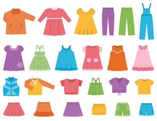 Vector quần áo cho bé gái