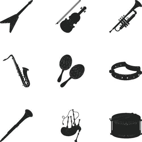 Vector bộ nhạc cụ trong phong cách màu đen