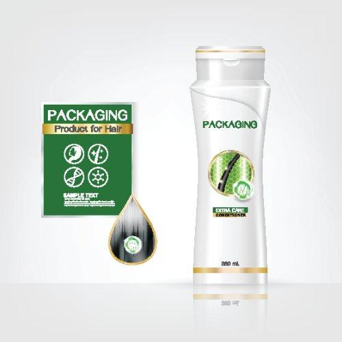Vector các sản phẩm bao bì thiết kế chăm sóc tóc, hộp dầu gội đầu trên nền trắng