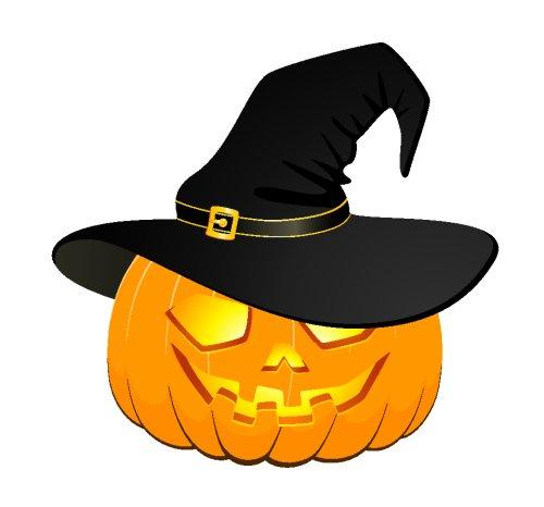 Vector - khuôn mặt của bí ngô đội mũ Halloween