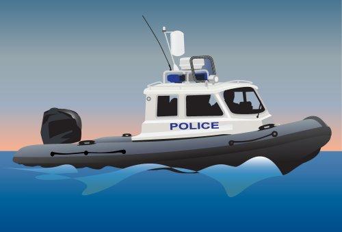 Vector - Thuyền cảnh sát biển. minh họa màu.