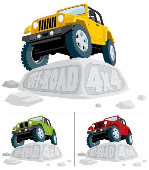 Vector - xe Off-road đậu trên một tảng đá.Bạn có thể thay thế văn bản khắc với văn bản của riêng bạn.Chiếc xe là 3 phiên bản màu sắc.