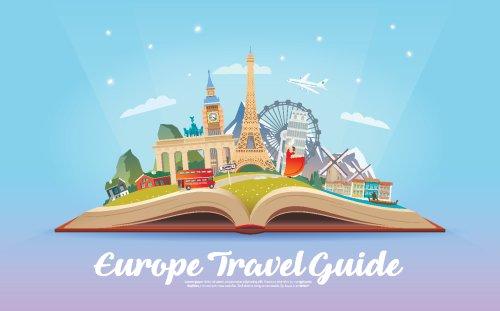 Vector Mở cuốn sách có điểm mốc đường đi Du lịch đến Châu Âu