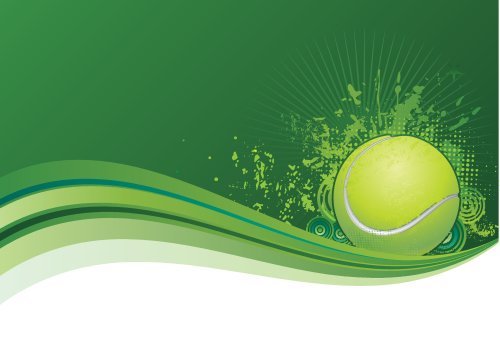 Vector - quả bóng tennis với nền màu xanh lá cây