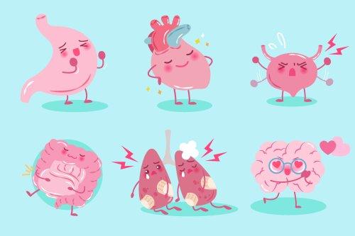 Vector bộ phim hoạt hình dễ thương với khái niệm sức khoẻ trên nền màu xanh