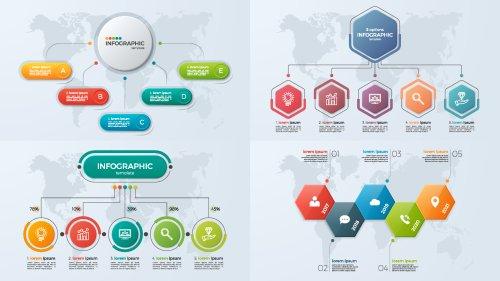 Vector bộ mẫu giới thiệu kinh doanh với 5 tùy chọn
