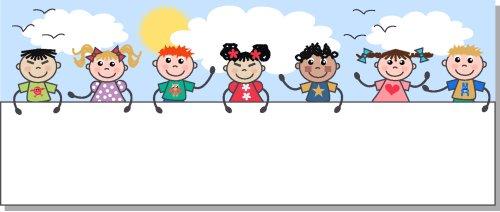 Vector - Các trẻ em dân tộc cầm một tấm áp phích