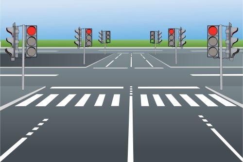 Vector - Vector minh họa đường phố với đèn giao thông