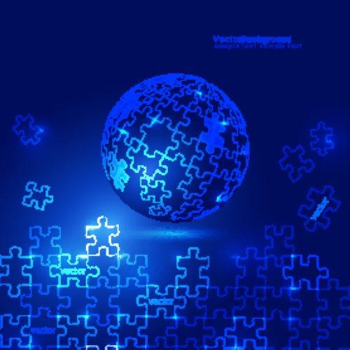 Vector nền màu xanh 3D về quả cầu Puzzle