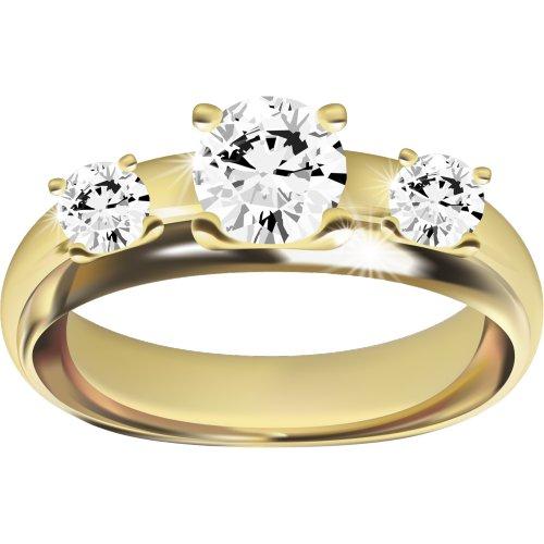 Ảnh nhẫn vàng đính ba viên kim cương lớn, file PNG