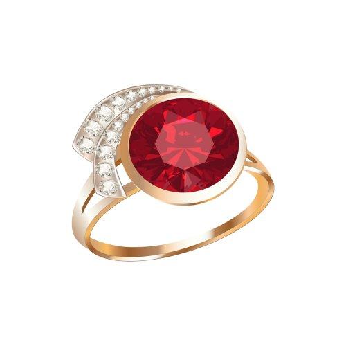 Ảnh nhẫn vàng kiểu, có viên ngọc màu đỏ lớn và các viên kim cương nhỏ, file PNG