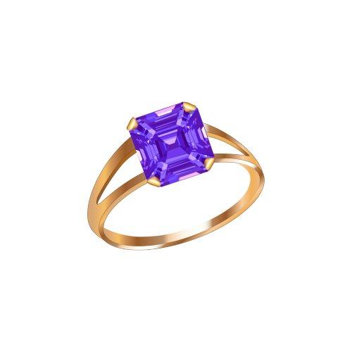 Ảnh nhẫn vàng đính viên ngọc màu tím, file PNG