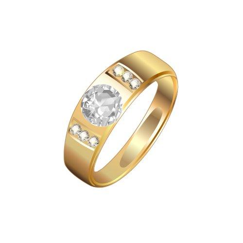 Ảnh nhẫn cưới vàng có viên kim cương lớn, file PNG