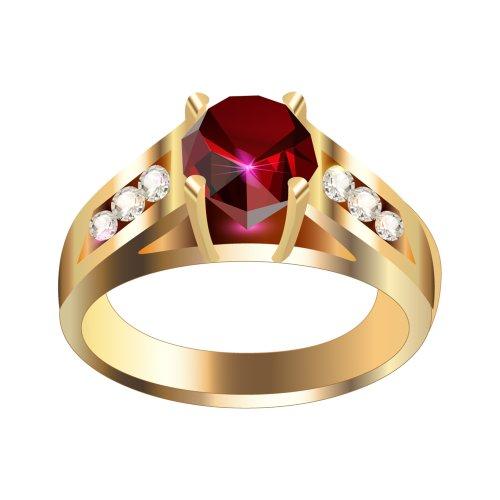 Nhẫn cưới màu vàng có viên ngọc màu đỏ lớn, file PNG