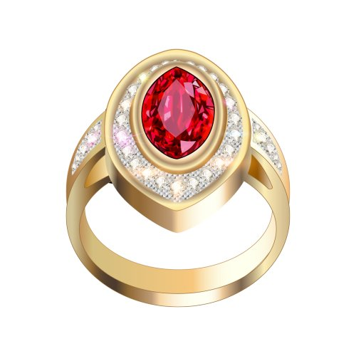 Nhẫn vàng có viên ngọc đỏ lớn và các viên kim cương xung quanh