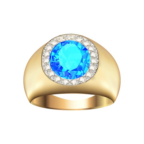Ảnh chiếc nhẫn vàng lớn, đính viên ngọc màu xanh lục tròn, file PNG