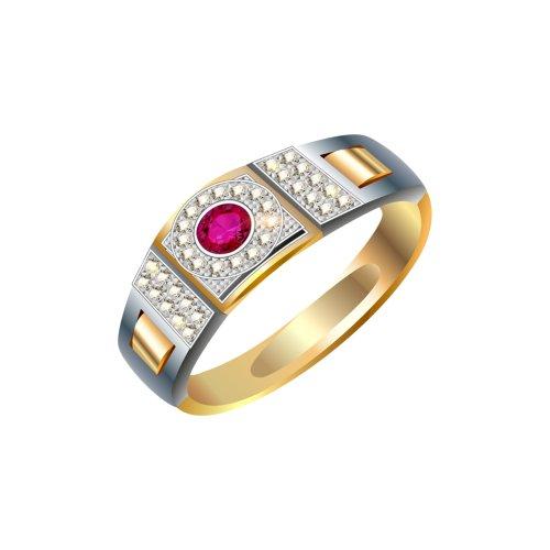 Chiếc nhẫn kim cương đính viên ngọc đỏ, file PNG