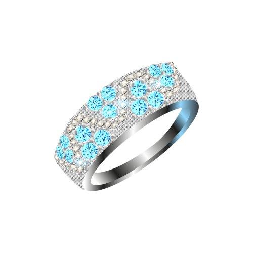 Ảnh chiếc nhẫn kim cương bạc, đính ngọc màu xanh, file PNG