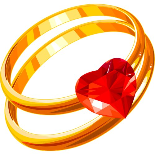 Hình ảnh PNG nhẫn cưới đôi có trái tim màu đỏ