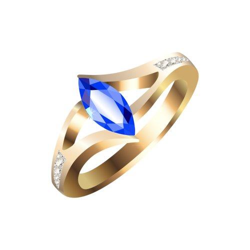 Ảnh nhẫn vàng đính viên ngọc màu xanh lam và các viên kim cương nhỏ