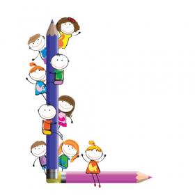 Vector Trẻ em vui vẻ và chữ L với bút chì màu