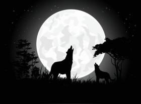 Vector con chó Sói đang hét lên với những bóng mờ trên nền mặt trăng khổng lồ