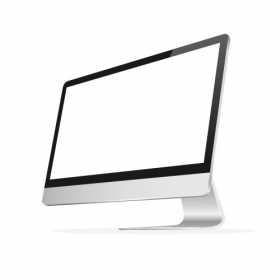 Vector màn hình máy tính với màn hình trống trên nền trắng