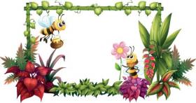 Vector minh họa con ong với hoa trên nền trắng
