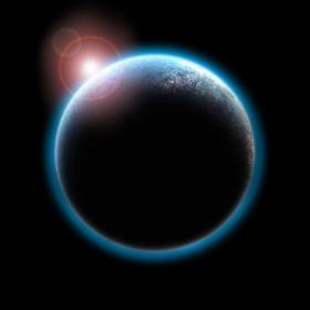 Ảnh chụp hành tinh với mặt trời mọc trong không gian