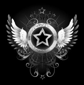 Vector ngôi sao vàng với một biểu ngữ hình tròn, trang trí bằng cánh vàng