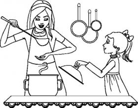 Vector phác thảo của mẹ và con gái kiểm tra thực phẩm trong nhà bếp